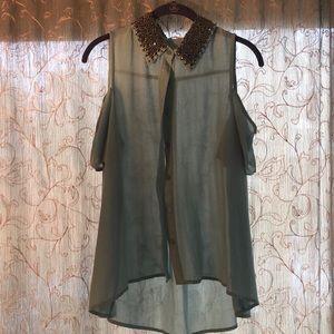 Sheer aqua button up blouse